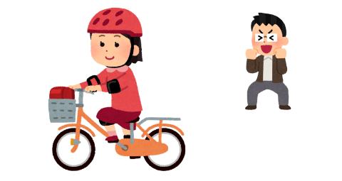 子供が自転車に乗れるようになり、喜んでいるお父さん
