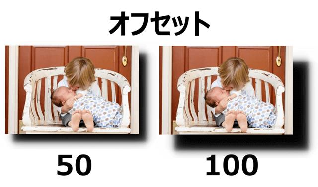 影のオフセット 50%と100%