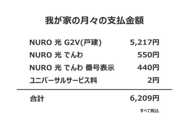 我が家の「NURO光」支払金額
