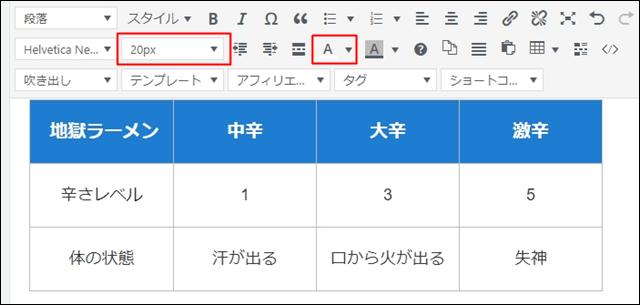 表の文字の色や大きさを変更する