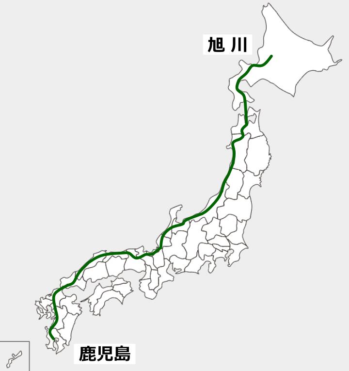 鹿児島から旭川まで走ったルート