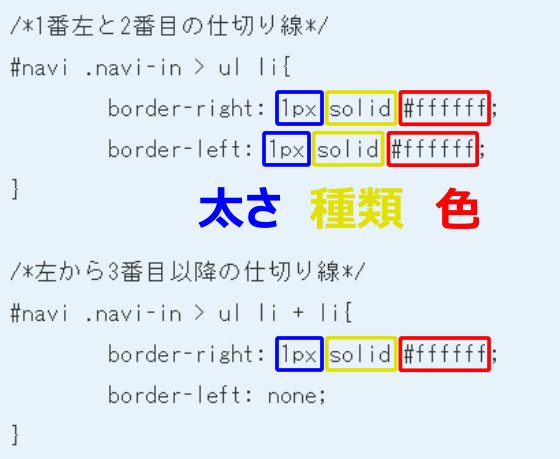 線の太さと種類と色を指定するCSS