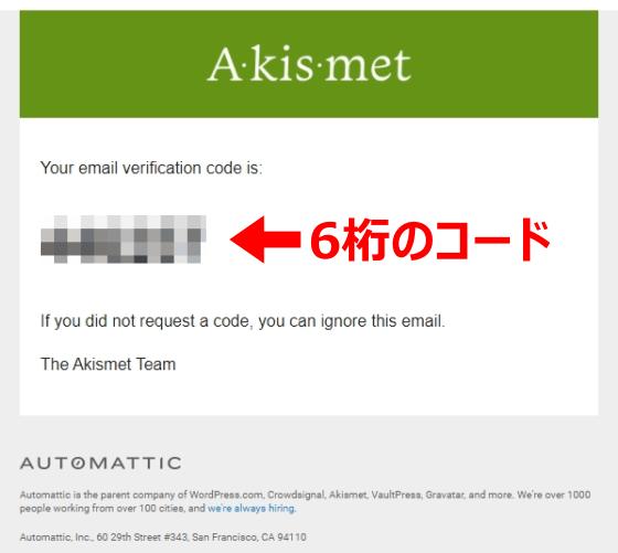 Akismetから送られてきた6桁のコードが記載されたメール