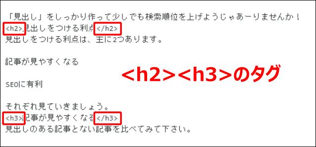 見出しには h2やh3などのタグがつけられている