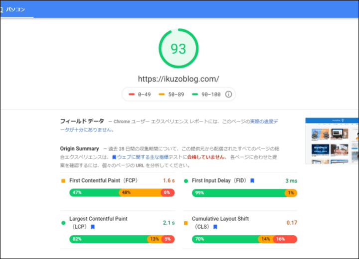 「PAGESPEED INSIGHTS」の分析結果