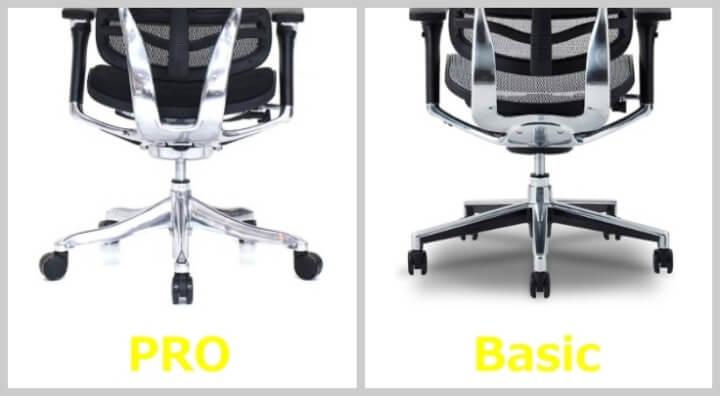 エルゴヒューマン PROとBasicの脚の形状の違い