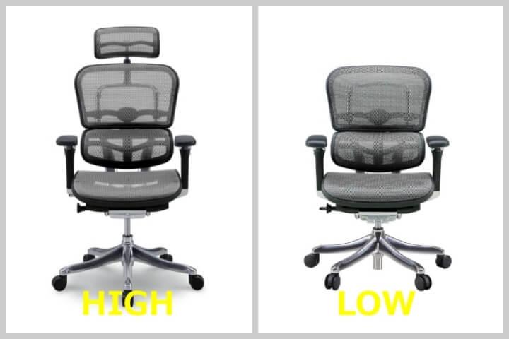 エルゴヒューマンのハイタイプとロータイプの違いは、ヘッドレストがあるかないかの違い