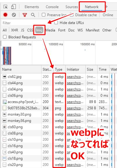 Typeが「webp」になってればOK