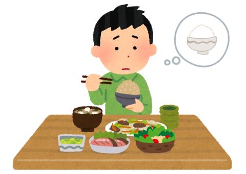 「白米が食べたいなぁ」と考えながら食事をとる少年