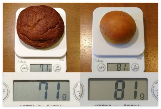 BASE BREADのプレーンとカレーの重量を比較