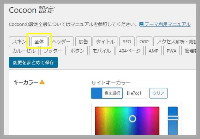 Cocoon設定→「全体」タブの「サイトキーカラー」
