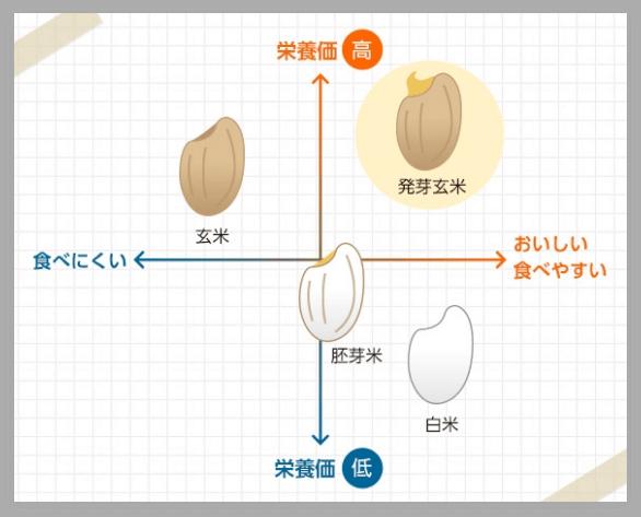 玄米と発芽玄米 美味しさと栄養価の比較(グラフ)