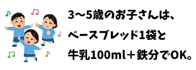 3~5歳の子どもはベースブレッド1袋と牛乳100mlでOK