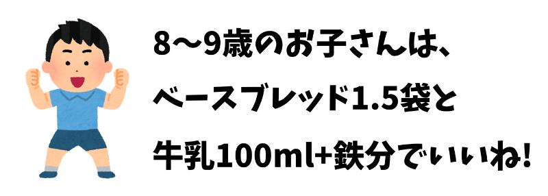 8~9歳の子どもはベースブレッド1.5袋と牛乳100mlでOK