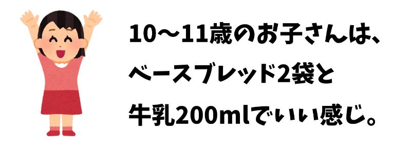 10~11歳の子どもはベースブレッド2袋と牛乳200mlでOK